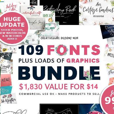 100多个字体和2000个专业图形素材打包下载